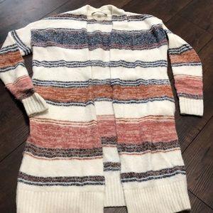 LOFT Long Open Cardigan Striped